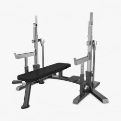 Eleiko IPF jėgos trikovės štangos spaudimo suoliukas ir pritūpimų stovas