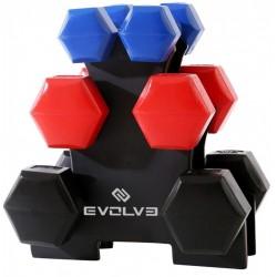 Evolve plastikinių hantelių rinkinys su stovu - 12 kg