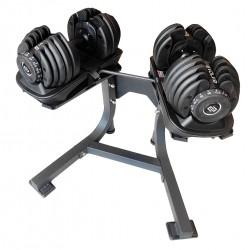 Evolve Econ serijos reguliuojamo svorio hanteliai su stovu - 2 x 2.5-24 kg