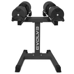 Evolve Prime serijos reguliuojamo svorio hanteliai su stovu - 2 x 2-20 kg / 2 x 2-32 kg